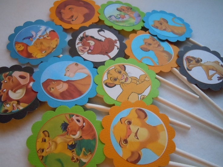 Cupcake picks for a Lion King party...good idea!