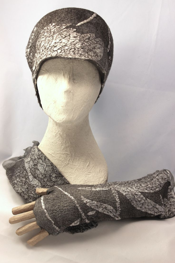 Nuno felted hat and matching gauntlets by Norah Walsh