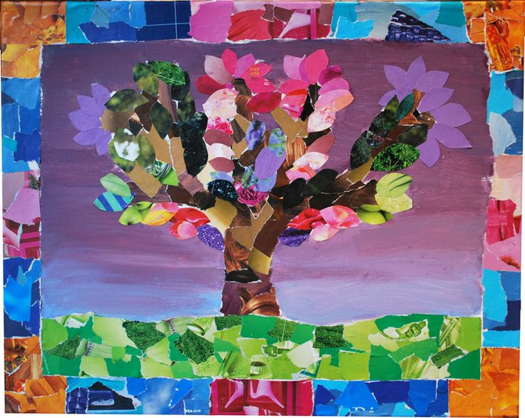 "kids art projects | Tree of Life"" - Mixed Media: paper collage & acrylics on canvas ..."