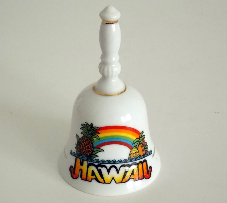 Vintage Hawaii Souvenir Porcelain Bell By Rb Japan With 24