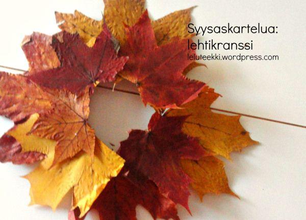 Syysaskartelua: lehtikranssi - http://leluteekki.wordpress.com/