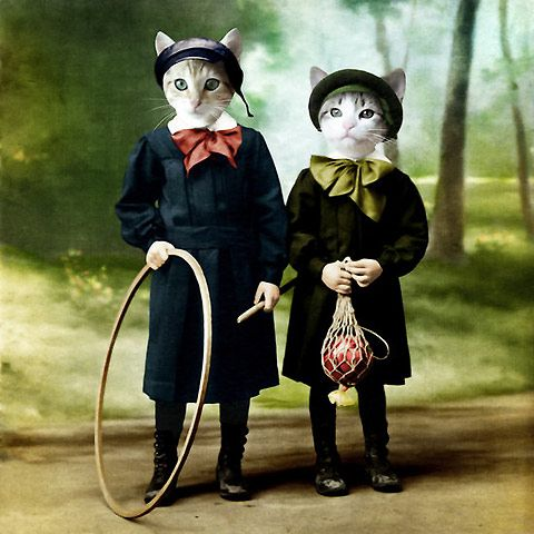 Martine Roch has two passions: animals and art. Roch creates a sweet and funny collage of old photographs and pictures of animals.