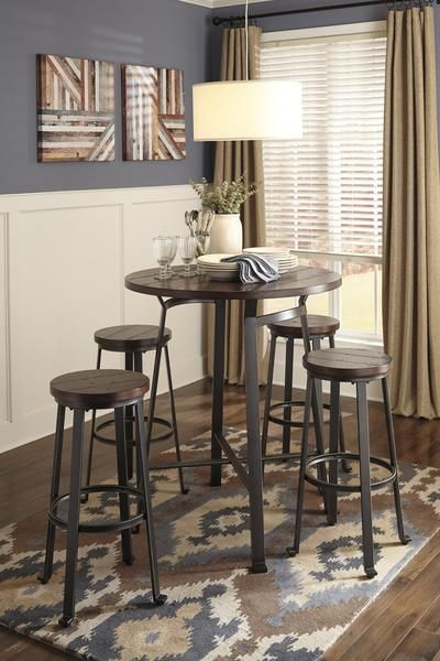 Challiman 5pc Round Bar Table Set