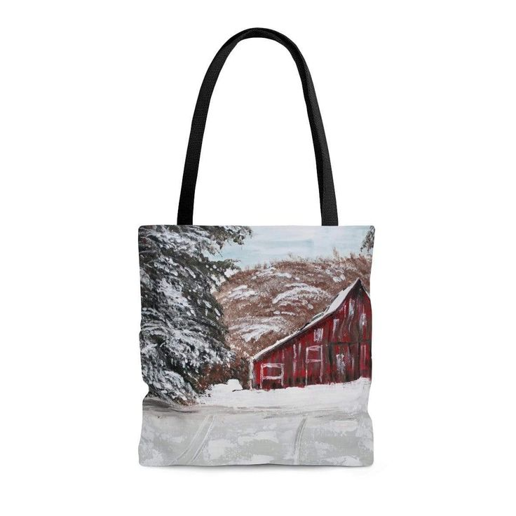 Red Barn in Winter. Tote Bag. Double Sided Print. Print of Ginger LaCour's artwork