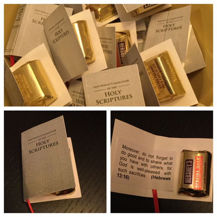 Bible Gifts-I made these for our pioneer appreciation dinner - they were easier than the open faced bibles and looked cute folded by the mini witness cart