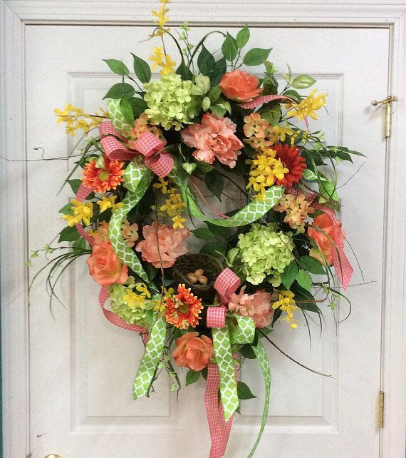 floral wreaths in coral Spring door wreaths for sale front