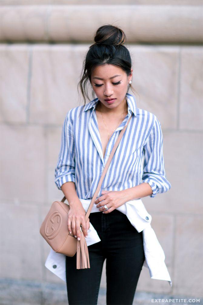 striped button down    ballerina bun    workwear attire