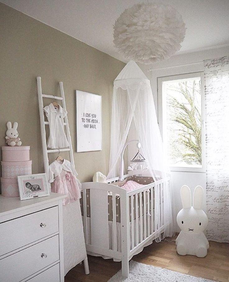 Cute Baby Girl Nursery Ideas: Cute White Ladder In Nursery And Vita EOS Feather Overhead