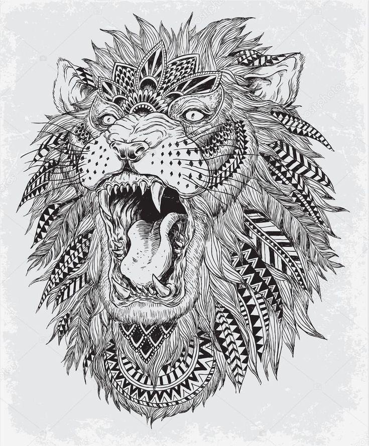 Рисованной абстрактного Льва векторная иллюстрация — стоковая иллюстрация #47732897