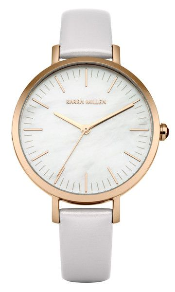Karen Millen 33mm White Round Dial Watch with Polished Case | Lilac Strap
