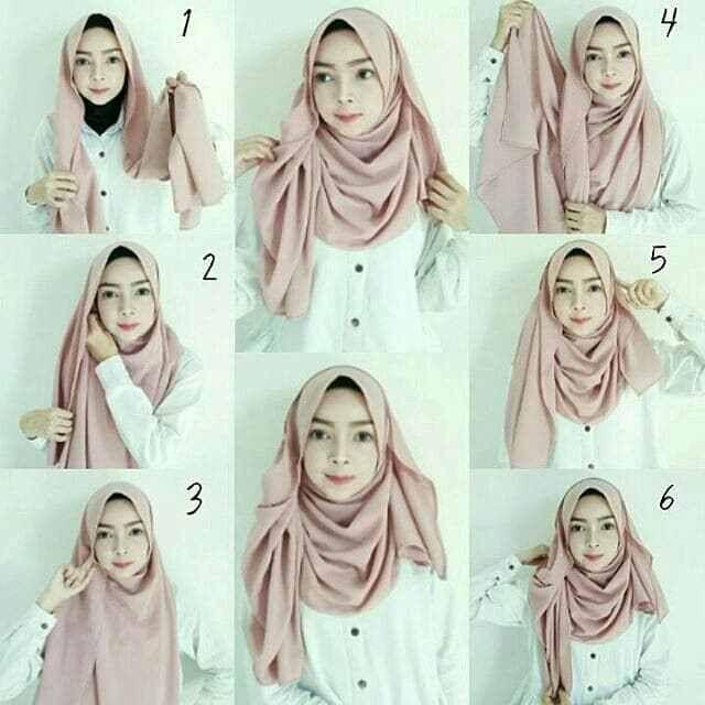 Tutorial Hijab Pashmina Simple Untuk Wajah Bulat Tanpa Ninja
