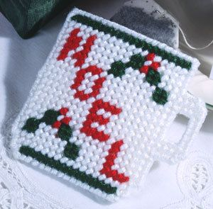 Free Plastic Canvas Coaster Patterns | Cup of Cheer Plastic Canvas Magnet Pattern ePattern - Leisure Arts