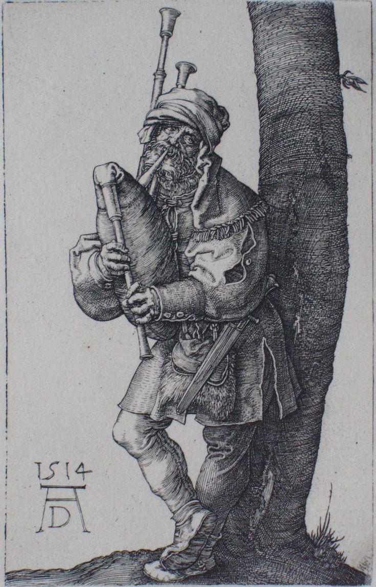 Gravure d'Albrecht Dürer : le joueur de cornemuse