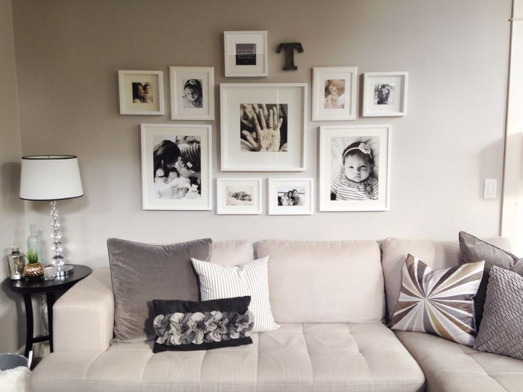 My photo wall collage, neutral tones, all white ikea frames