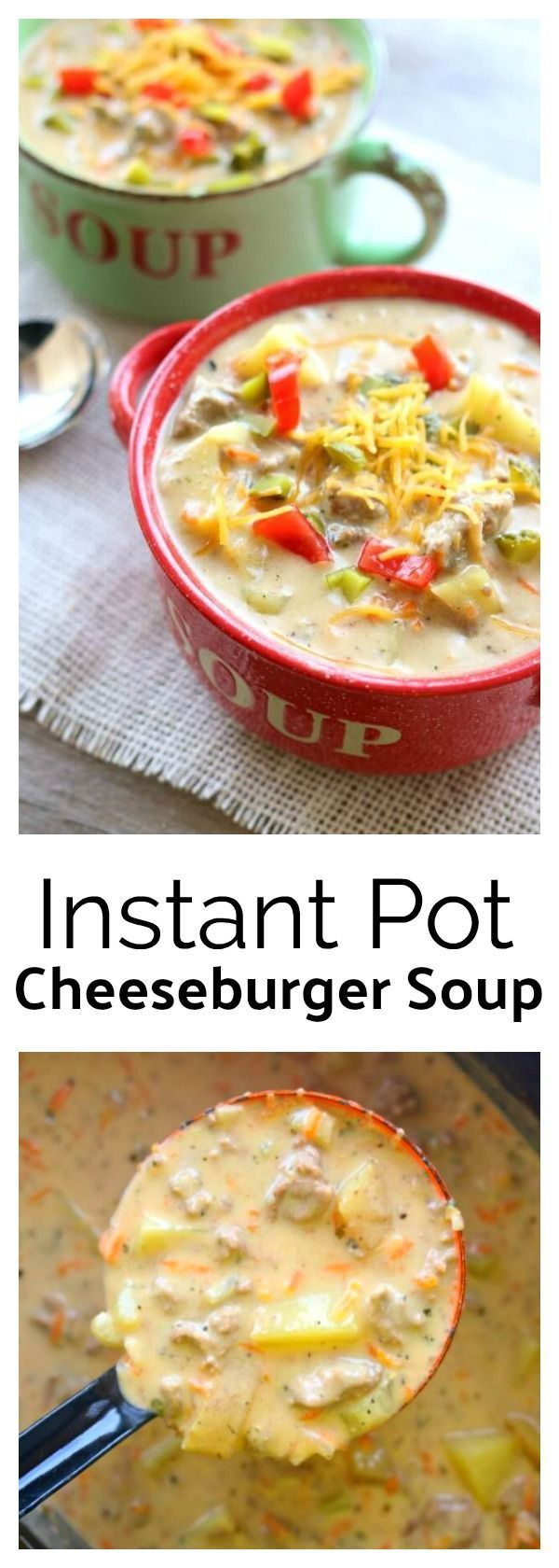 Instant Pot Cheeseburger Soup--creamy and cheesy soup that is made so fast in your electric pressure cooker. Serve it with diced up dill pickle and tomatoes to get that authentic cheeseburger taste. Add crumbled bacon for bacon cheeseburger soup! Miss the bun? Make homemade croutons out of a toasted sesame seed bun to get the total effect. Bottom line...you need to make this today!