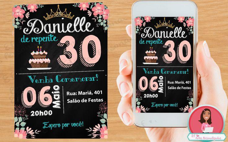 Convite Chalkboard DIGITAL 30 anos | EF artes personalizadas | Elo7