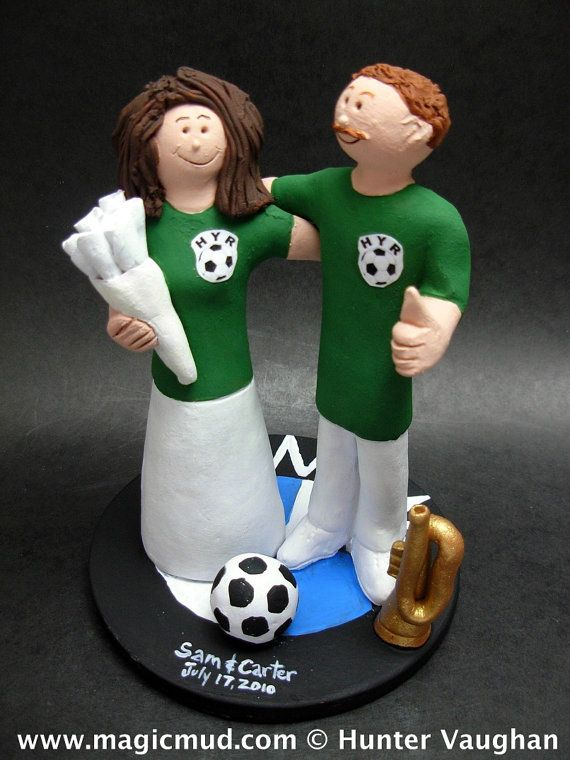 Soccer Wedding Cake Topper    Soccer Wedding Cake Topper, custom created for you! Perfect for the marriage of a Soccer Playing Groom and his Bride!    $235   #magicmud   1 800 231 9814   www.magicmud.com