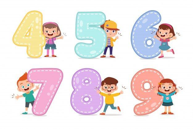 Cartoon Kids With 123 Numbers Numbers For Kids Art School Supplies Kids Clipart