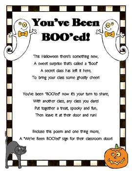 You've Been BOO'ed!  This is a fun FREE HALLOWEEN surprise that is left outside someone's door without them knowing who left it.  Use this to bring joy to the teachers, students, and staff at your school!