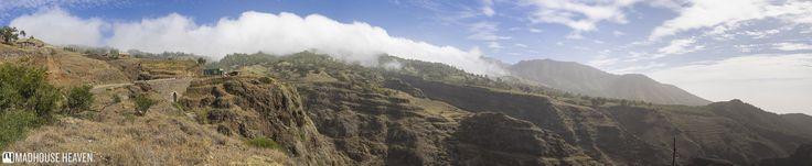 Clouds boiling over the ridges of Santo Antão, along Rua de Corda from Porto Novo to Ponta do Sol,  Santo Antão, Cape Verde