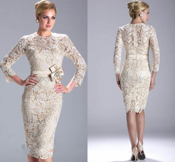 2013 New Fashion Long Sleeve Sheath Knee-Length Lace Evening Gown Mother of the Bride Dresses $99.00