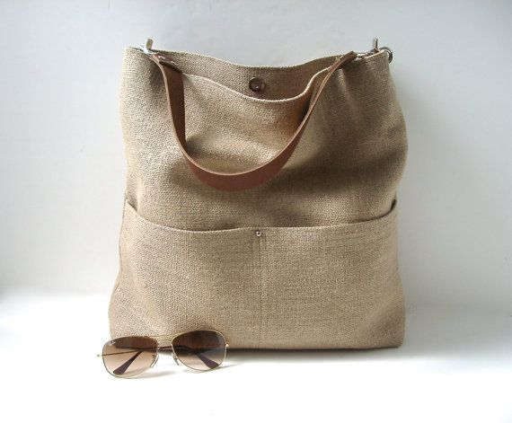 Bucket Bag Jute Tote Bag Beach Bag Hobo Tote by IndependentReign