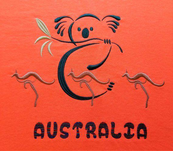 Koala Roo Australia Embroidery Design Kangaroo And Koala With