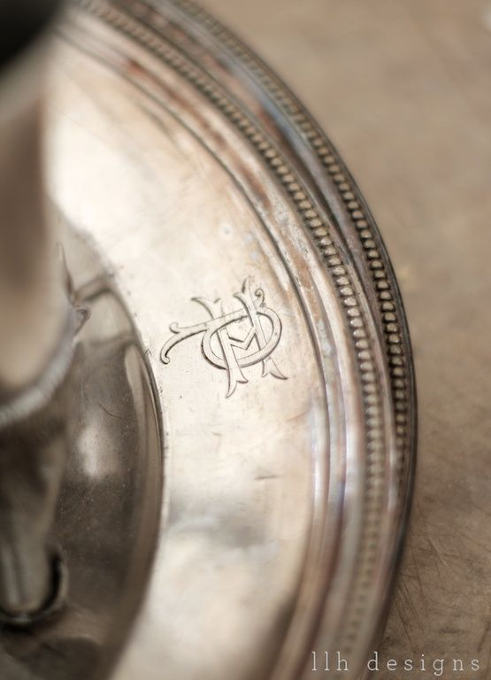 monogrammed antique silver