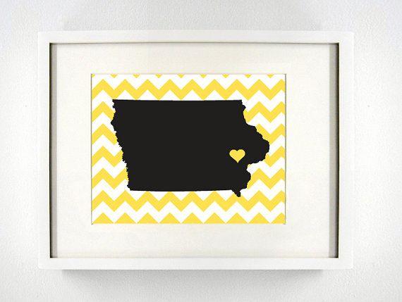 Iowa City Iowa State Giclée Print 8x10 UI Black by PaintedPost