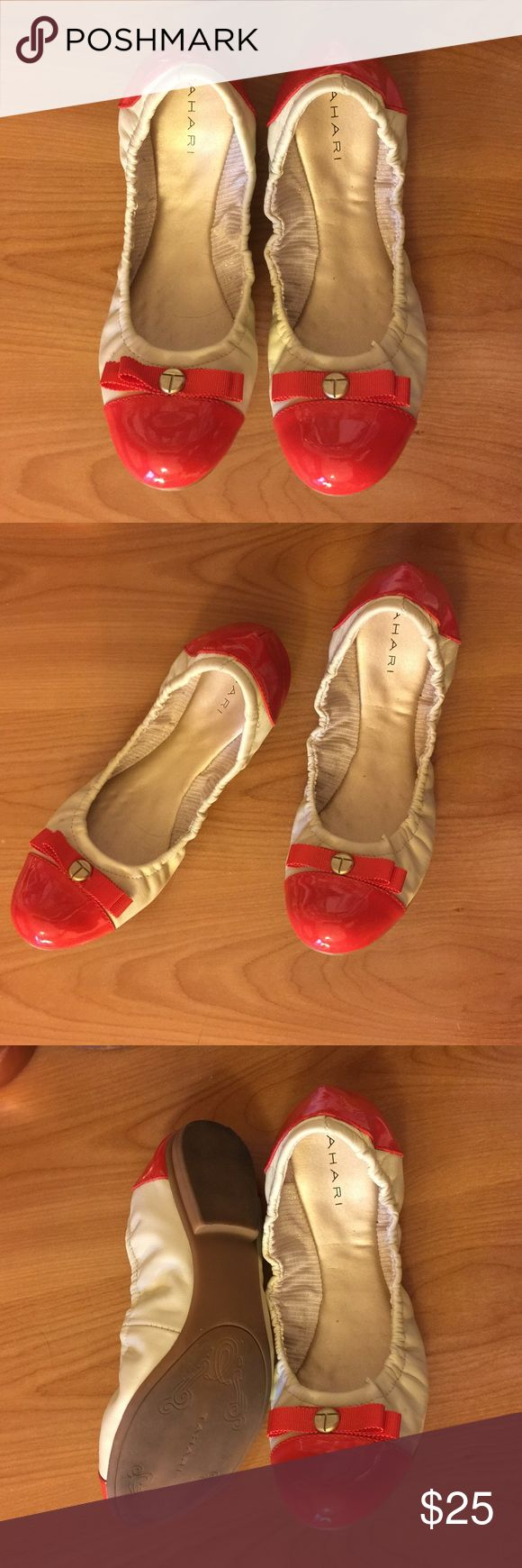 SOLD ON MERC Tahari scrunched flats, with gorgeous red accent. Worn once for two hours for photo shoot- so. Fans new condition! Has cushion filling to mold to your foot and make the comfiest fit! Tahari Shoes Flats & Loafers