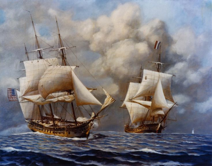 USS Constellation captures the L'Insurgente by Rear Admiral John William Schmidt, Shows the USS Constellation capturing the French vessel L'Insurgente on February 9, 1799 during the Quasi-War with France.