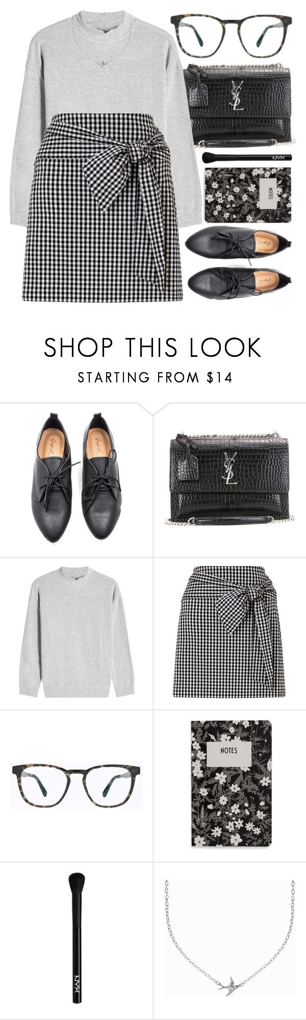 """Lucky Charm"" by smartbuyglasses ❤ liked on Polyvore featuring Oxford, Yves Saint Laurent, Velvet, Miss Selfridge, Mykita, Design Letters, NYX, Minnie Grace, black and gray"