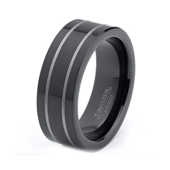 mens tungsten wedding ring mens tungsten carbide wedding band ring 8mm black by 5804