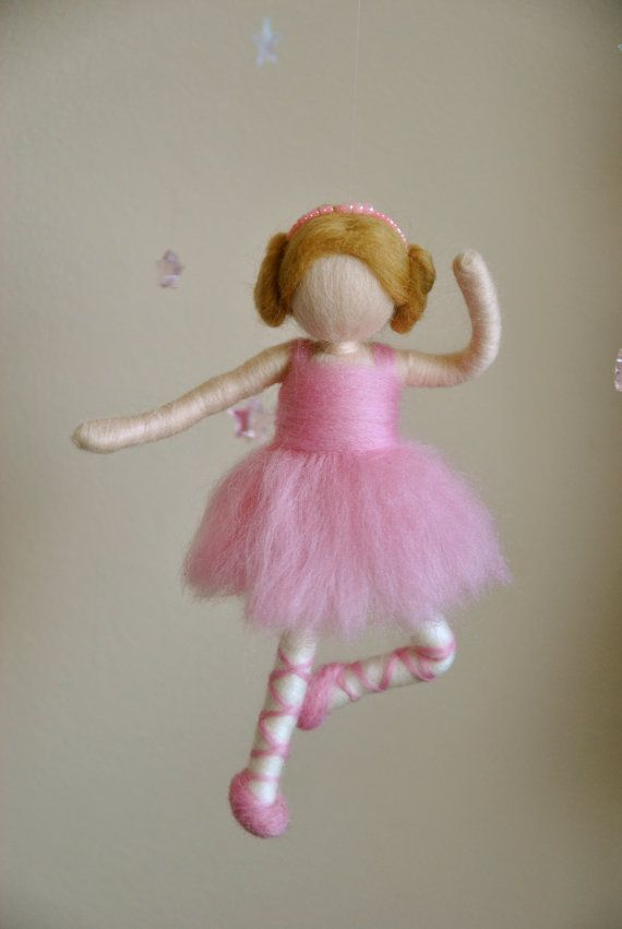 Waldorf inspired needle felted doll mobile Ballerina by MagicWool