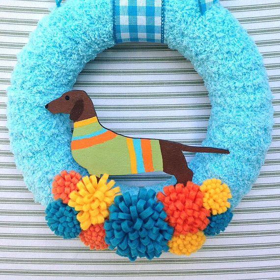 Dog Wreath Dachshund Wreath Doxie Dog Wreath by TweetTweetWreaths