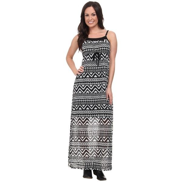 Roper 9592 Black/White Aztec Print Georgette Dress Women's Dress ($56) ❤ liked on Polyvore featuring dresses, black, white and black striped dress, maxi dress, scoop neck maxi dress, tribal print maxi dress and sleeveless maxi dress