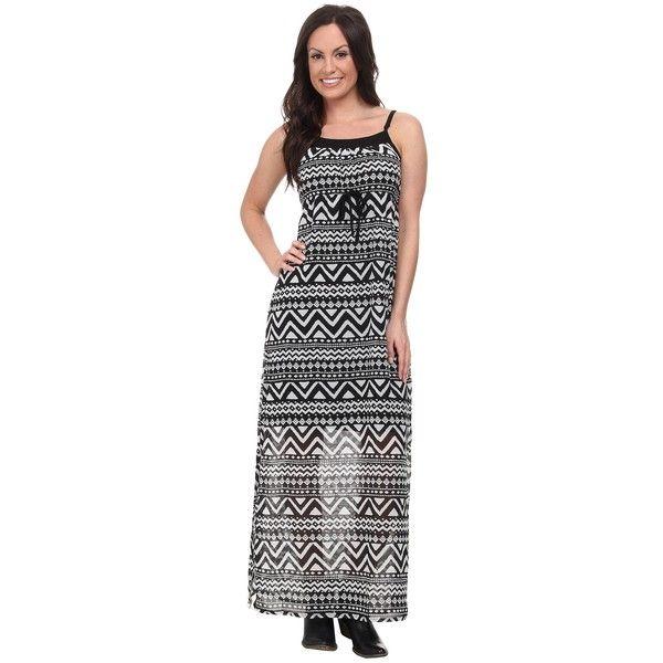Roper 9592 Black/White Aztec Print Georgette Dress Women's Dress ($56) ❤ liked on Polyvore featuring dresses, black, white and black striped dress, maxi dress, scoop neck maxi dress, tribal print maxi dress and sleeveless maxi dress