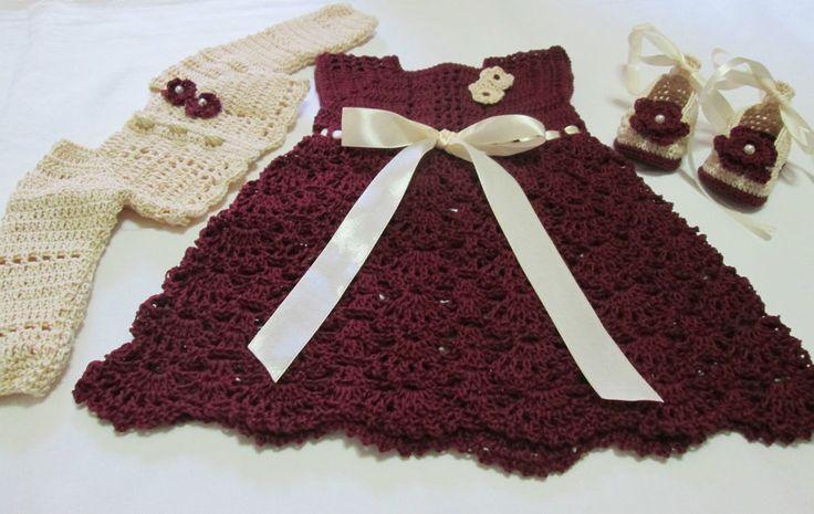 Abito neonata elegante/Vestito neonata cotone uncinetto/Completo 3pz neonata/0/3