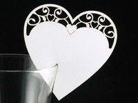 Bordkort vinglass - papir hjerte