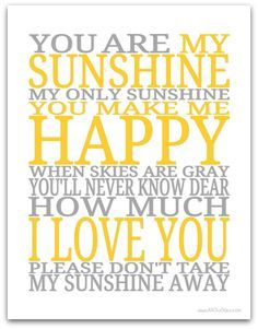 Clever image with you are my sunshine free printable