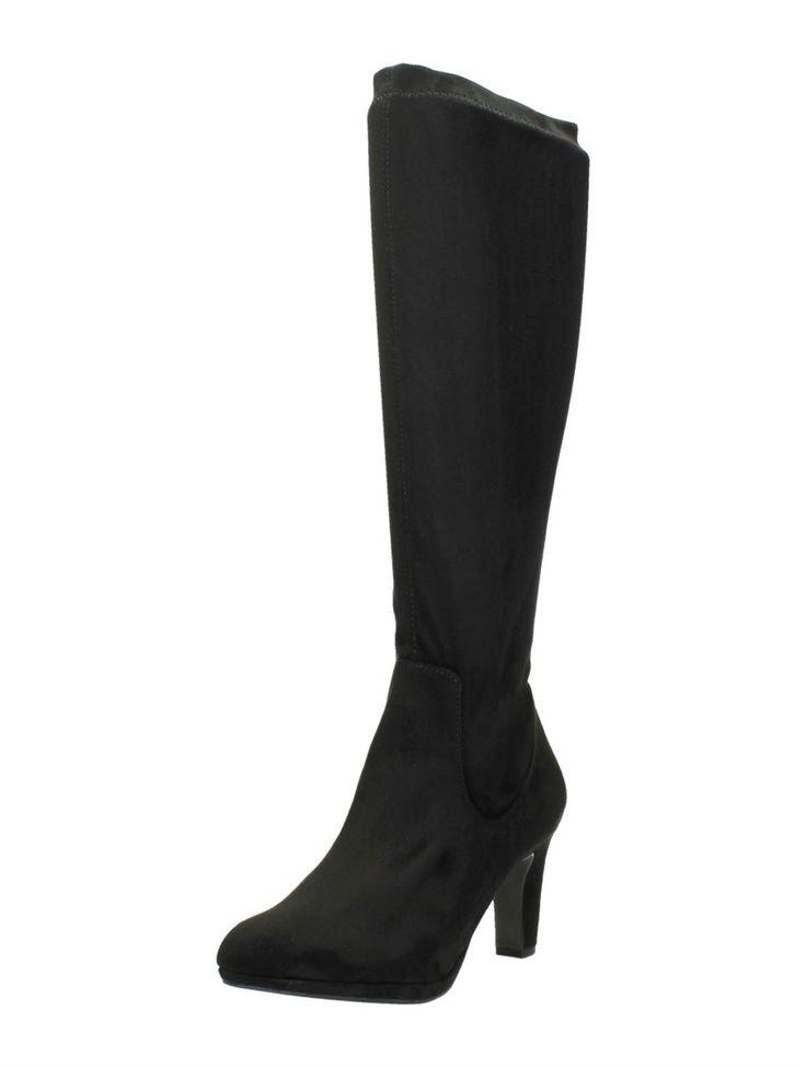 Tamaris zwarte suede lange laarzen met hak