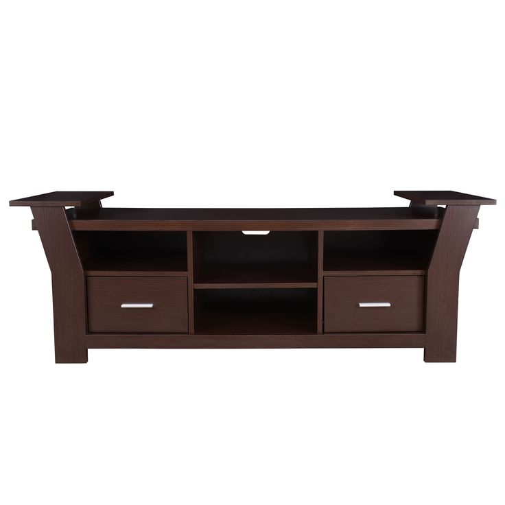 Uplift the look of your living décor with the Skyler Contemporary 64-inch Entertainment TV Console. Offering a dramatic contemporary design with shelf decorated pedestal settings, this console is perfect for all your entertainment needs.
