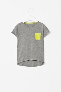 COS grey marl tee with neon colour pop