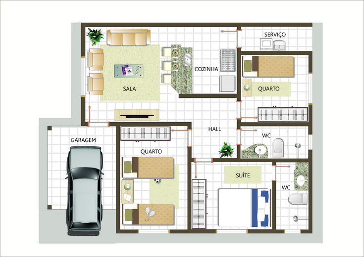 Plantas de casas com 3 quartos fotos quartos for Jardins mangueiral planta 3 quartos