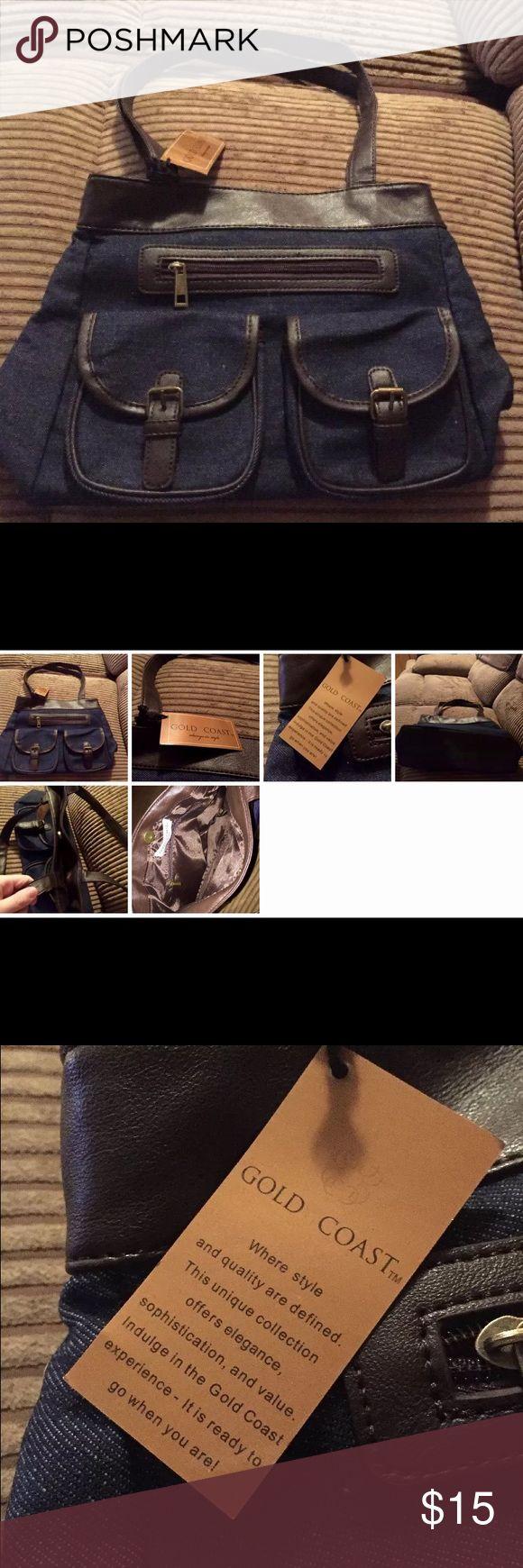 NWT Shoulder Bag Denim Trimmed Faux Brown Leather Never used! Brand New! gold coast Bags Shoulder Bags