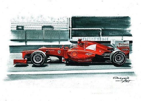 2012, Ferrari F2012,  Fernando Alonso,  Felipe Massa.  Ferrari F1 collection ART by Artem Oleynik. This collection demonstrating Ferrari F1 racing cars since 1950 to 2016 and includes 96 pictures in oil on canvas. The size of each original picture is 25 x 35 cm.