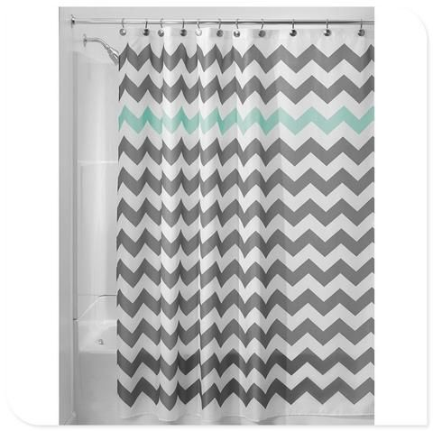 Stripe Design Waterproof Fabric Bathroom Shower Curtain With 12pcs Hooks