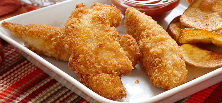 Cheesy Chicken Fingers - Bread strips of chicken with a tasty combination of breadcrumbs and parmesan cheese. Cook in a large deep skillet until golden brown. For convenience, you can bread chicken fingers ahead of time and refrigerate until ready to cook.