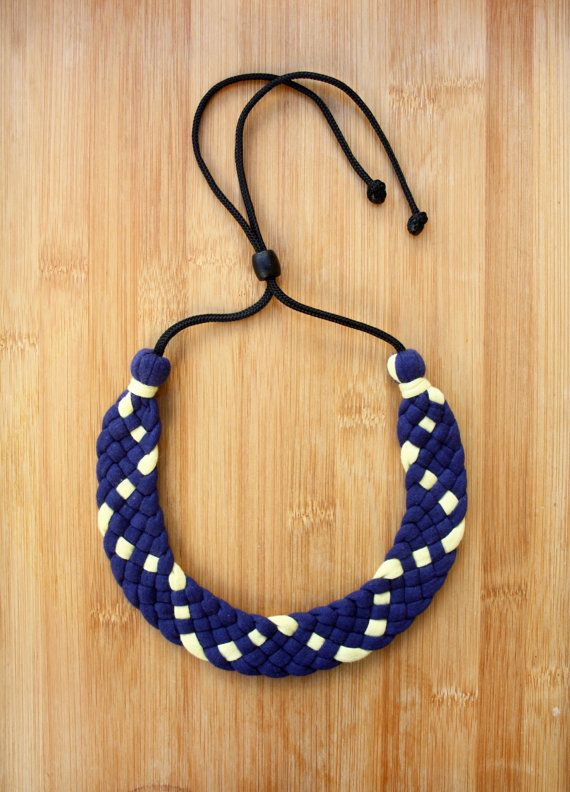 Woven Statement Upcycled Collar Necklace by Coalesced on Etsy, $45.00