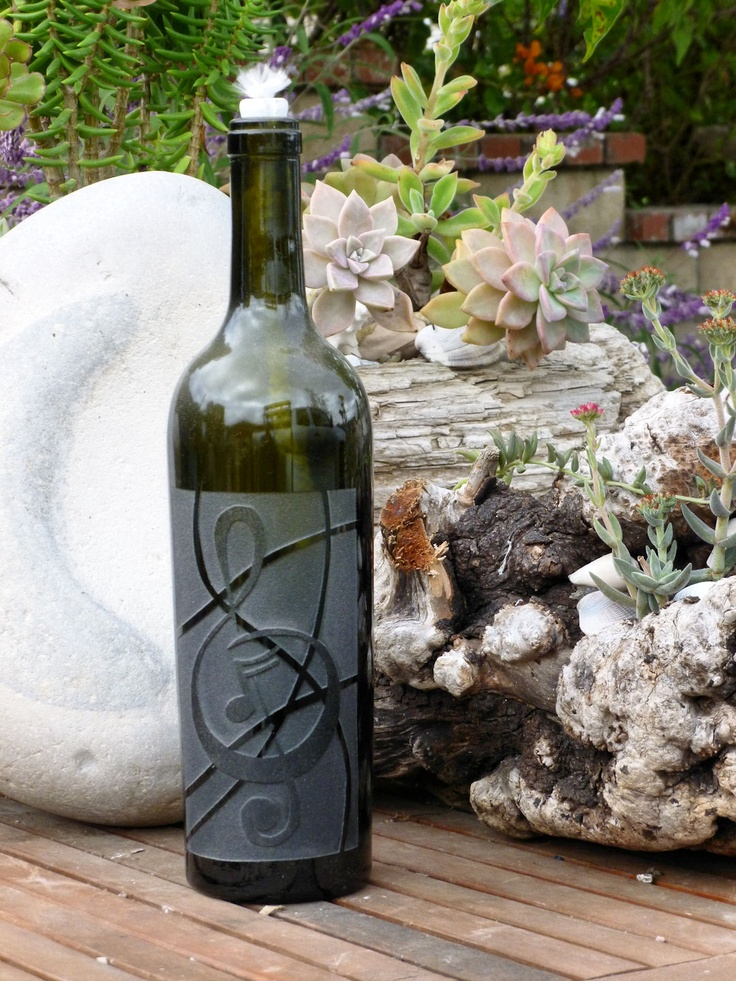 Musical note graphic carved sandblasted onto empty wine for Empty wine bottles